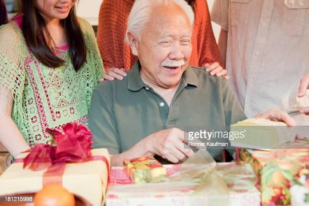 Japanese family celebrating birthday together