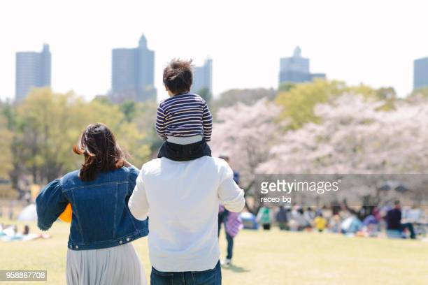 japanese family having fun in spring - saitama prefecture stock pictures, royalty-free photos & images