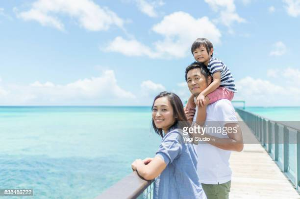 japanese family looking the sea - monogamous animal behavior stock photos and pictures