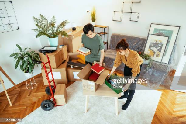 japanese family  moving in new apartment, carrying potted plants and books - sack barrow stock pictures, royalty-free photos & images