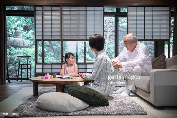 Japanese family playing together at home