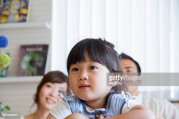 japanese family relaxing at home - tv housewife stock photos and pictures