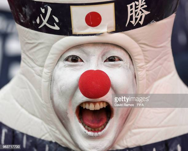Japanese fan enjoys the atmosphere during the 2018 FIFA World Cup Russia group H match between Japan and Senegal at Ekaterinburg Arena on June 24,...