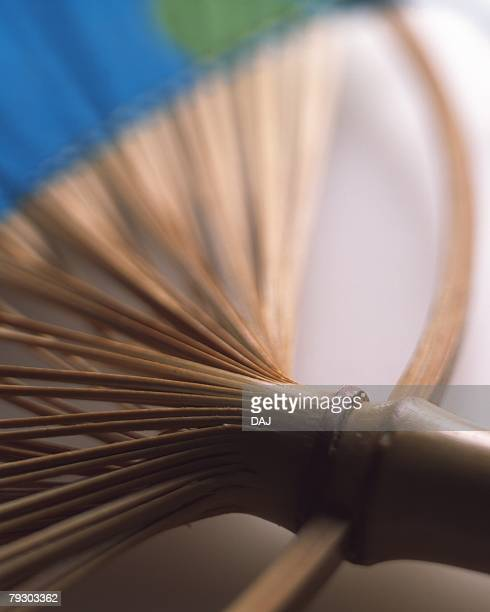 Japanese fan, high angle view, close up, differential focus