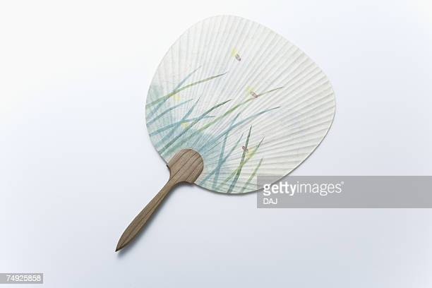 Japanese fan, high angle view, white background