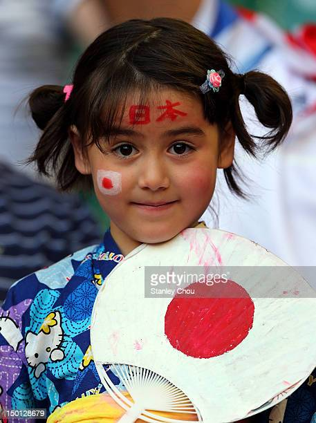 Japanese fan looks on during the Men's Football Bronze medal playoff match between Korea and Japan on Day 14 of the London 2012 Olympic Games at...