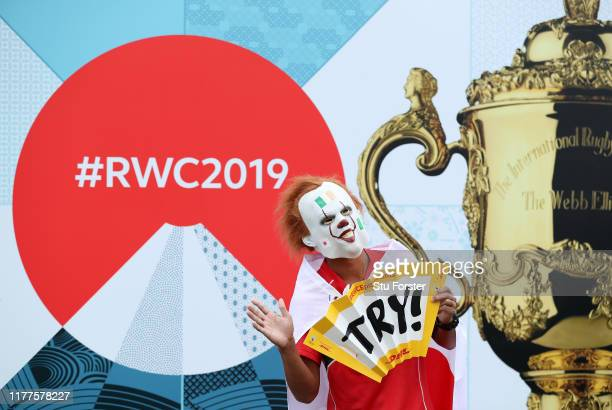 Japanese fan poses for photographs prior to the Rugby World Cup 2019 Group A game between Japan and Ireland at Shizuoka Stadium Ecopa on September 28...