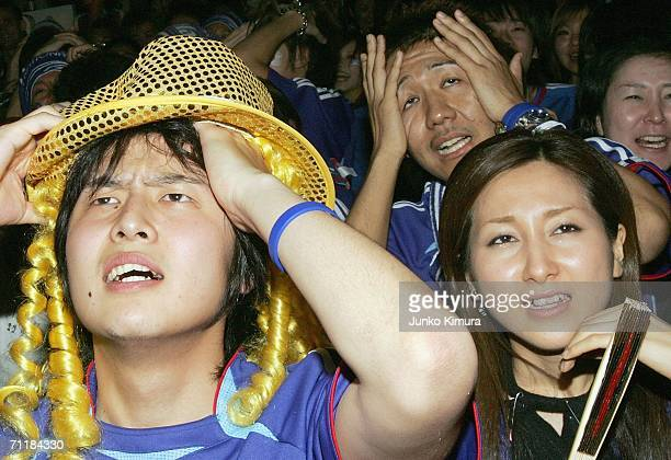 Japanese fan react with the Australia's goal during the public viewing of the FIFA World Cup Germany 2006 Group F match between Australia and Japan...