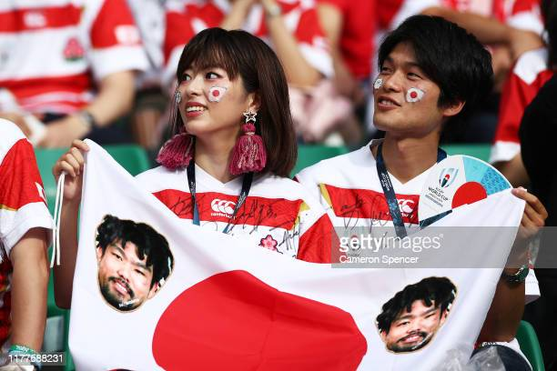 Japanese fans are seen prior to the Rugby World Cup 2019 Group A game between Japan and Ireland at Shizuoka Stadium Ecopa on September 28 2019 in...