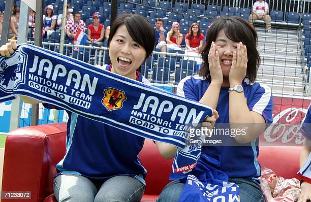 Japanese fans come to watch the Croatia vs Japan game during the World Cup on June 18 2006 at adidas World of Football in Berlin Germany