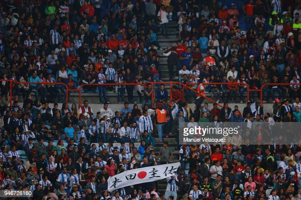 Japanese fans display a banner during the 15th round match between Pachuca and Santos Laguna as part of the Torneo Clausura 2018 Liga MX at Hidalgo...