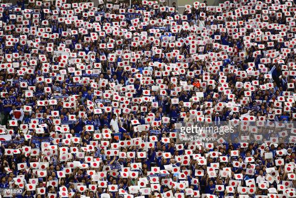 Japanese fans during the Group H match against Belgium of the World Cup Group Stage played at the Saitama Stadium SaitamaKen Japan on June 4 2002 The...