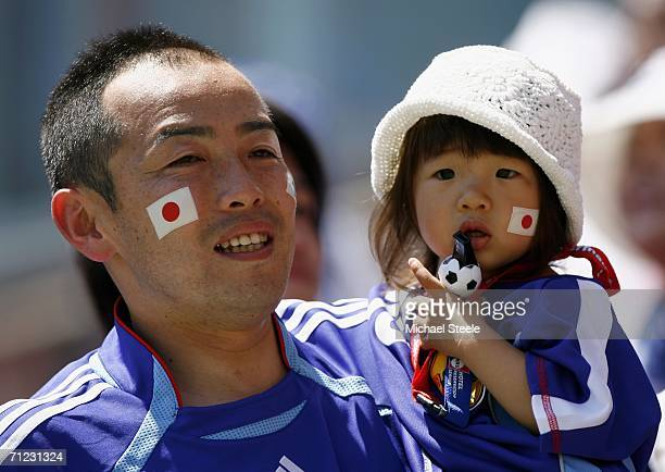 Japanese fans enjoy the atmosphere prior to kickoff during the FIFA World Cup Germany 2006 Group F match between Japan and Croatia at the...