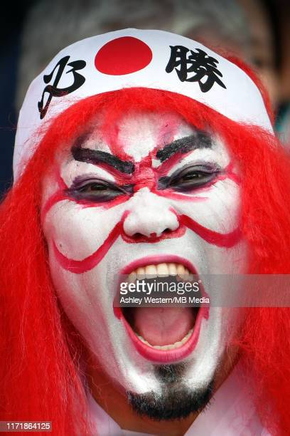 Japanese fans in the stadium before the Rugby World Cup 2019 Group A game between Japan and Ireland at Shizuoka Stadium Ecopa on September 28 2019 in...