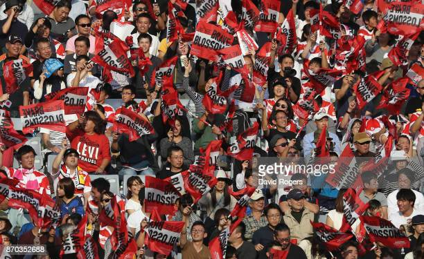 Japanese fans look on during the rugby union international match between Japan and Australia Wallabies at Nissan Stadium on November 4 2017 in...