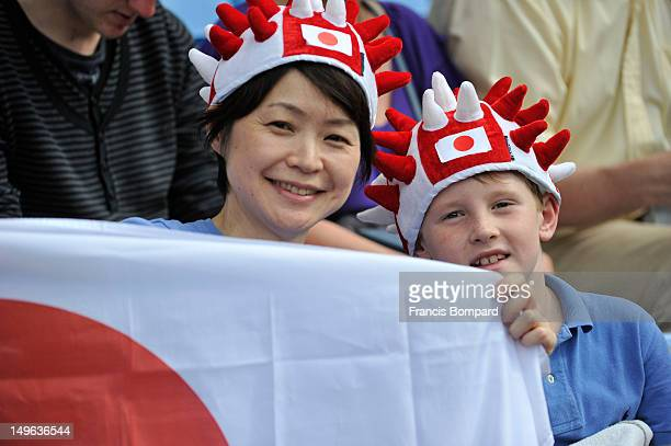 Japanese fans looks on during the Men's Football first round Group D Match between Japan and Honduras on Day 5 of the London 2012 Olympic Games at...