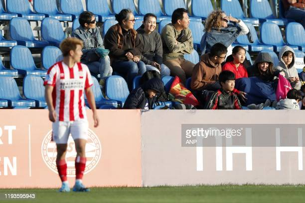 Japanese fans of Ritsu Doan of PSV during a international friendly match between PSV Eindhoven and KAS Eupen at Aspire Academy on January 11, 2020 in...