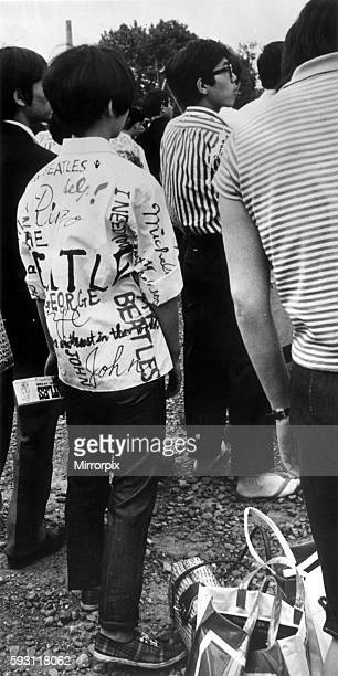 Japanese fans outside Budokan Tokyo waiting to see The Beatles perform June 1966
