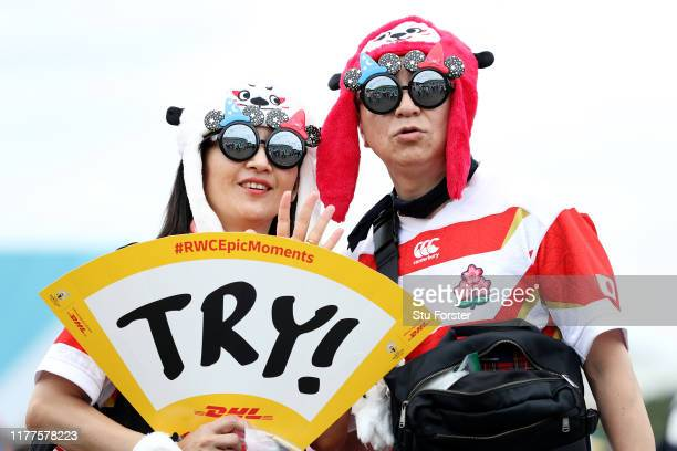 Japanese fans pose for photographs prior to the Rugby World Cup 2019 Group A game between Japan and Ireland at Shizuoka Stadium Ecopa on September 28...