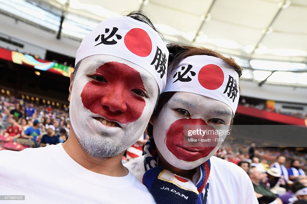 Japanese fans show their support during the FIFA Women's World Cup 2015 Group C match between Japan and Cameroon at BC Place Stadium on June 12, 2015 in Vancouver, Canada.