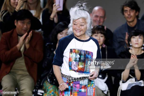 Japanese fashion designer Junko Shimada acknowledges the audience at the end of her Spring-Summer 2019 Ready-to-Wear collection fashion show in...