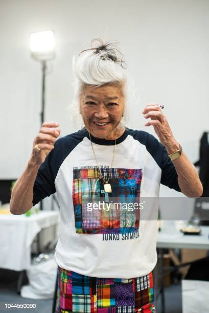 Japanese fashion designer Junko Shimada is seen backstage prior to her Spring-Summer 2019 Ready-to-Wear collection fashion show in Paris, on October...