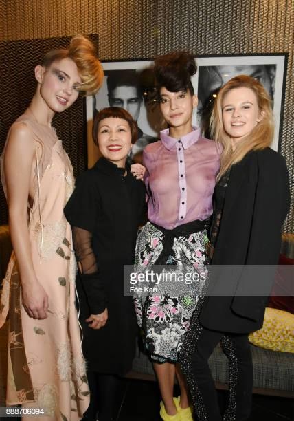 Japanese fashion designer Ken Okada his models and Julie Jardon attend Ken Okada Fashion Show at Hotel W on December 8 2017 in Paris France