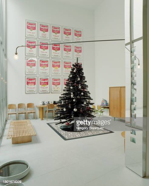 Japanese fashion designer, Nigo's house seen with a Gucci Christmas tree, Andy Warhol paintings, and Eames furniture in February, 2004 in Shibuya,...