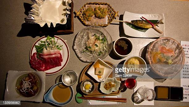 Japanese feast, traditional food.