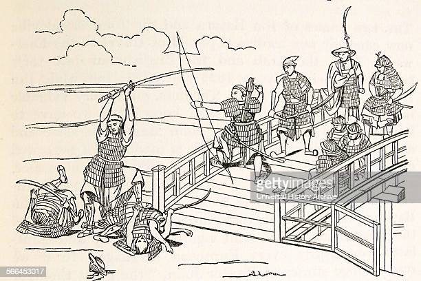 A Japanese fight against the Chinese at the time when Marco Polo first saw Japanese From an ancient Japanese painting