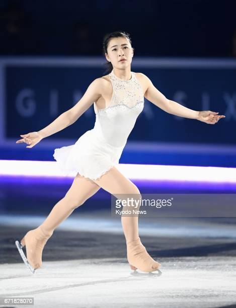 Japanese figure skater Kanako Murakami takes part in an exhibition at the World Team Trophy in Tokyo on April 23 appearing in a competitive event for...