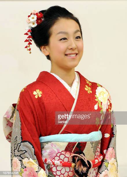 Japanese figure skater Mao Asada wearing Japanese Kimono of her clothes line Maomao poses for photographs on January 6 2011 in Nagoya Aichi Japan