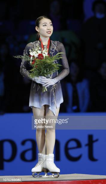 Japanese figure skater Rika Kihira poses after winning the women's Grand Prix Final in Vancouver Canada on Dec 8 2018 The 16year old claimed gold in...