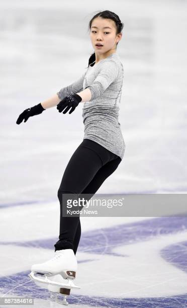 Japanese figure skater Rika Kihira takes part in official practice in Nagoya on Dec 6 for the Junior Grand Prix Final figure skating competition...