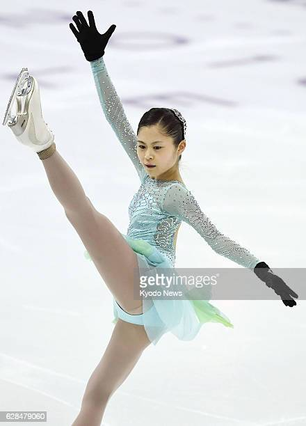 Japanese figure skater Satoko Miyahara works out during a practice session in Marseille France on Dec 7 a day before the start of the Grand Prix...