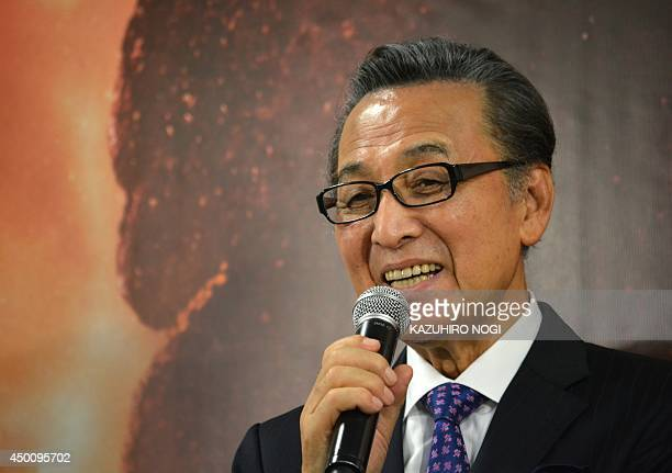Japanese film actor Akira Takarada who was cast in the original Godzilla attends a press conference at Toho Studios in Tokyo on June 5 2014 as part...