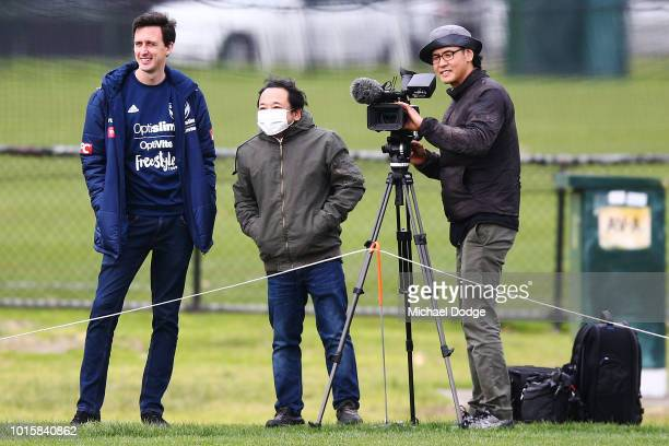 Japanese film crew is seen during a Melbourne Victory training session at Gosch's Paddock on August 13 2018 in Melbourne Australia
