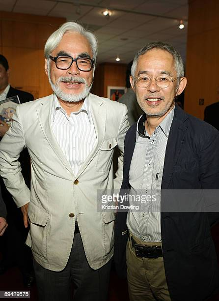 Japanese film maker Hayao Miyazaki and producer Toshio Suzuki attend AMPAS' 14th Annual Marc Davis Celebration of Animation at the AMPAS Samuel...