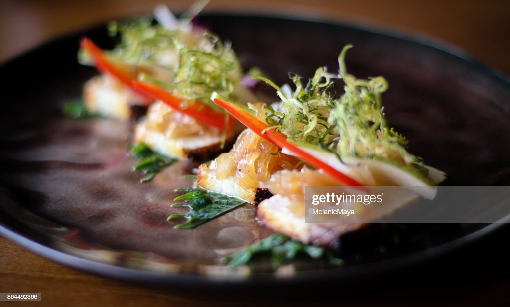 Japanese Fine Dining Hamachi Dish : Stock Photo