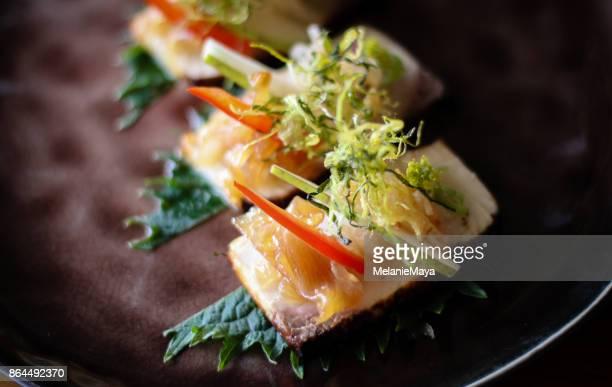 Japanische feine Restaurants Hamachi Gericht