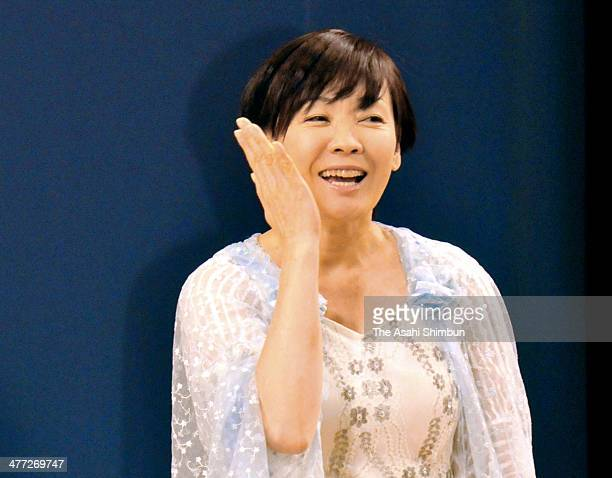 Japanese first lady Akie Abe performs during the sign language and dance event 'Challenge Life' at Nakano Zero Hall on March 8 2014 in Tokyo Japan
