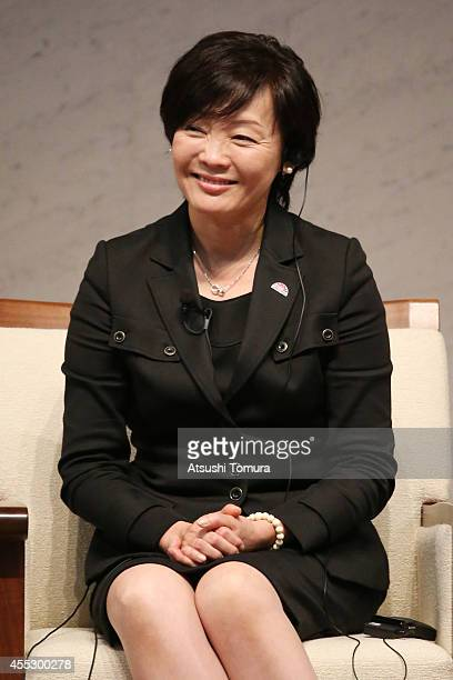 Japanese first lady Akie Abe speaks during The World Assembly for Women in Tokyo WAW Tokyo 2014 at Keidanren Kaikan on September 12 2014 in Tokyo...