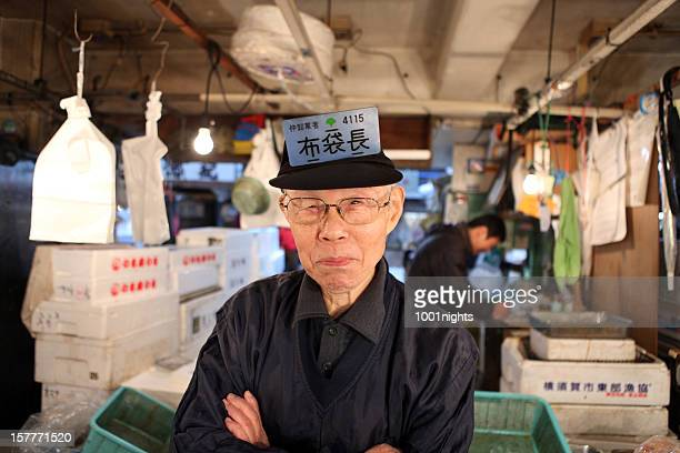 Japanese fisherman at fish market, Tokyo