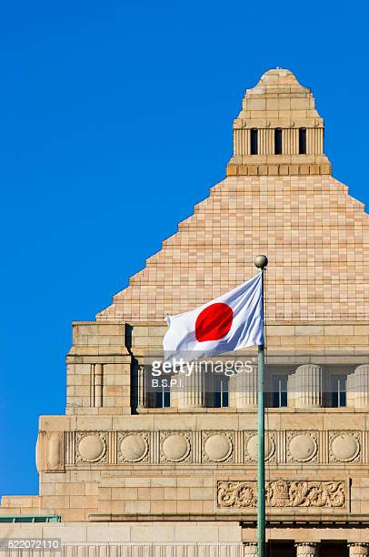 Japanese flag flying in front of National Diet Building
