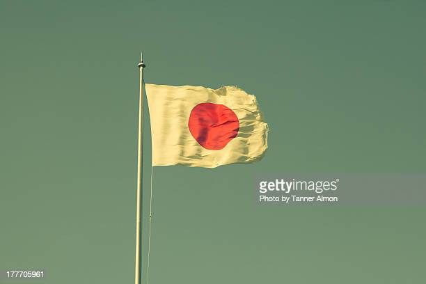 japanese flag in sky - japanese flag stock photos and pictures