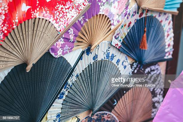 japanese folding fans for sale at market stall - drawing artistic product stock pictures, royalty-free photos & images