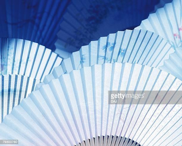 Japanese folding fans, high angle view, full frame