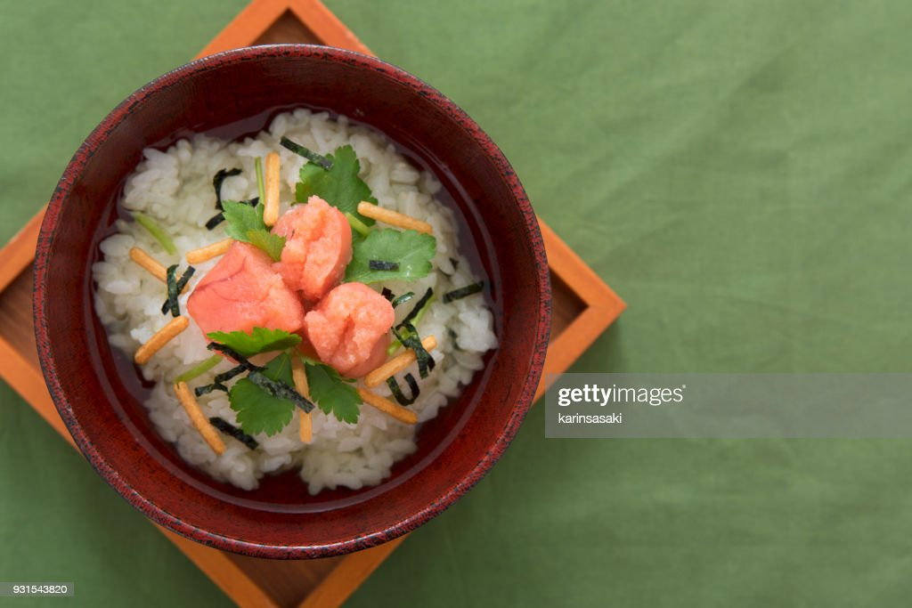 Japanese food : Cod roe boiled rice in tea : Stock Photo