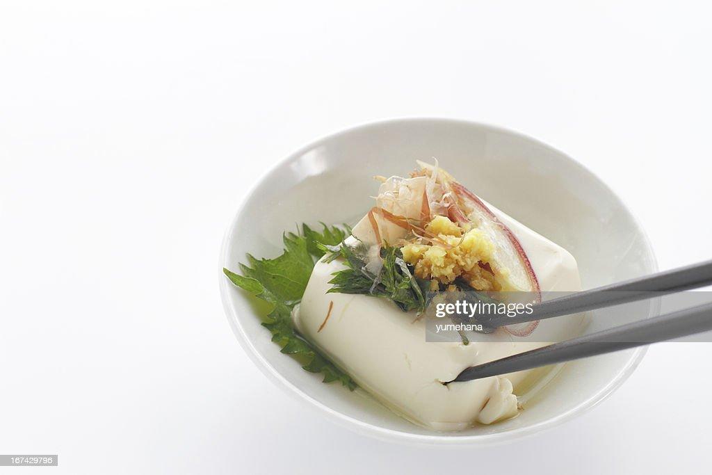 Japanese food cold Tofu called Hiyayakko : Stock Photo