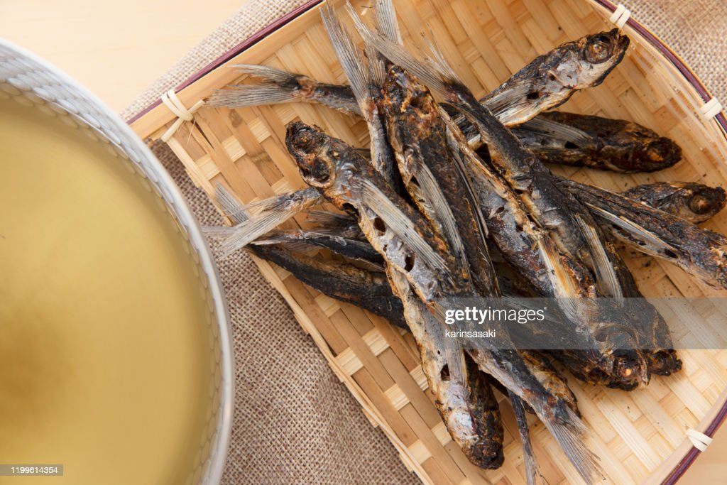 """Japanese food ingredients, The flying fish which I grilled to make broth """"Yaki Ago Dashi"""" : Stock Photo"""